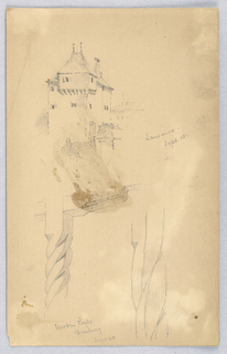 Top, tower at Lausanne. Below, sketches of wooden posts.