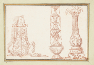 At left, an elaborate cabinet with one leg looking like the foot of a giant creature. In the center, a tall fountain. At right, a pillar.