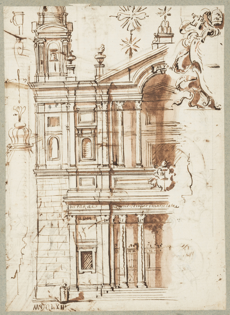 One sheet of paper drawn on recto and verso, mounted onto an album page with window cutout to see verso