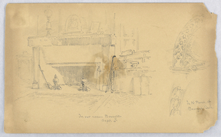 Room of artist shown, fire place with rug, fireplace mantel with objects and suitcase right. Right, two sketches of North porch of the Cathedral.