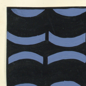 The Monte Zuma textile design consists of rhythmic geometric shapes in the form of alternating curving bands and plant vines in black. This color variation is in lavender and black.