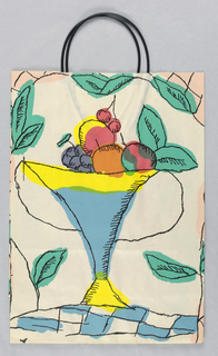 Summer bag; white with black handles. Recto: Image of pitcher of lemonade. Verso: fruit bowl with leaves. Colors are red, blue, yellow and green.