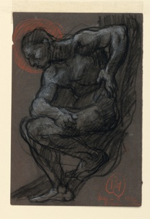 A male nude seated in contrapposto, his right elbow on his right knee, and his left hand on his hip. His head is shown in a red halo. Verso: Figure sketches in black chalk, crossed out.