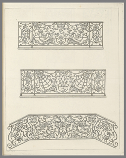 Grillwork heavily ornamented with foliage and scrolls.