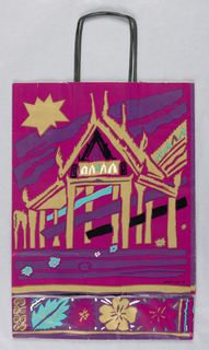 "Country Promotion. Recto: Purple abstract drawing of Asian temple in gold on red background. Four floral motifs in blue, red, and gold on bottom edge against purple background.   Verso: Beach scene with silhouette of girl wearing gold one-shoulder dress; a blue flower is in her hair.  Gold and purple border at bottom. Gold star upper right corner.   Side panels: ""South China Seas/ thailand/ indonesia/ bali/ philippines/ singapore/ malaysia/ brunei."""
