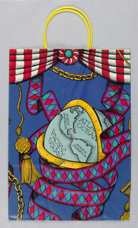 Design in style of Hermes scarves in blue with yellow handles. Recto:  Chain with trinkets.  Verso: Globe in turquoise.