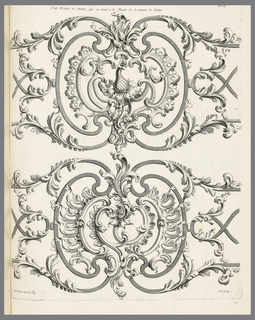 Print, Petit Balçon et Suivant, qui de voient a la Facade de la Maison de l'Auteur (Small Balcony and other Grillwork from the Residence of Jean Lamour), pl. 23 in Recueil des Ouvrages de Serrurerier