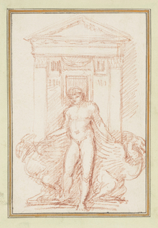 Doorway with columns and pediment in background. In foreground, nude male figure with hands resting on fantastical winged creatures that face outward.