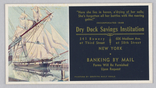 At left, reproduction of a mural with a ship in a harbor. At right, quotation and banking information.