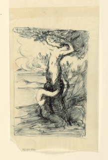 """Study for an """"Apollo and Daphne"""" subject. Within framing lines is a landscape setting in which Daphne, transformed into a tree, is being embraced by Apollo, shown nude, kneeling in right profile."""