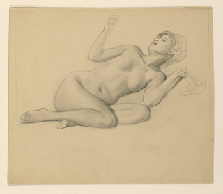 Nude female figure lying on left side, right arm raised; legs drawn up to body.
