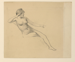 Horizontally rectangular plate-mark enclosing raised rectangle. Seated nude female figure turned to right, resting head against raised right hand.