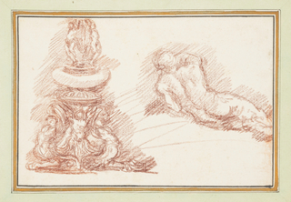 At left, fountain with three figures visible at the bottom layer and two at the top. At right, posterior view of a reclining male nude.