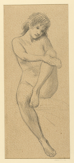 Nude female figure, seated, seen directly from front; right leg down, left leg raised, with hands clasped around knee.