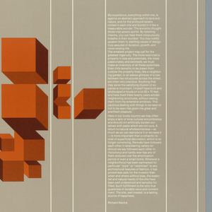 Poster depicts text in white, sculptural geometric formations in dark red, dark orange and dark yellow on gray background. Text in the upper left: Corbin/Yamafuji and Partners, Inc.; Architecture / Planning; on the left, text by Le Corbusier; text on the right, by Richard Neutra; text on the lower left, by Frank Lloyd Wright.