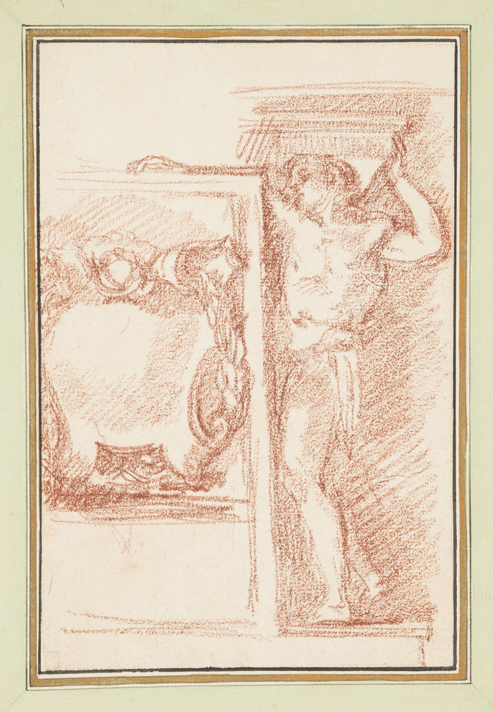 Mostly nude male figure supports slab with head and left hand. To his left is a wall decoration.