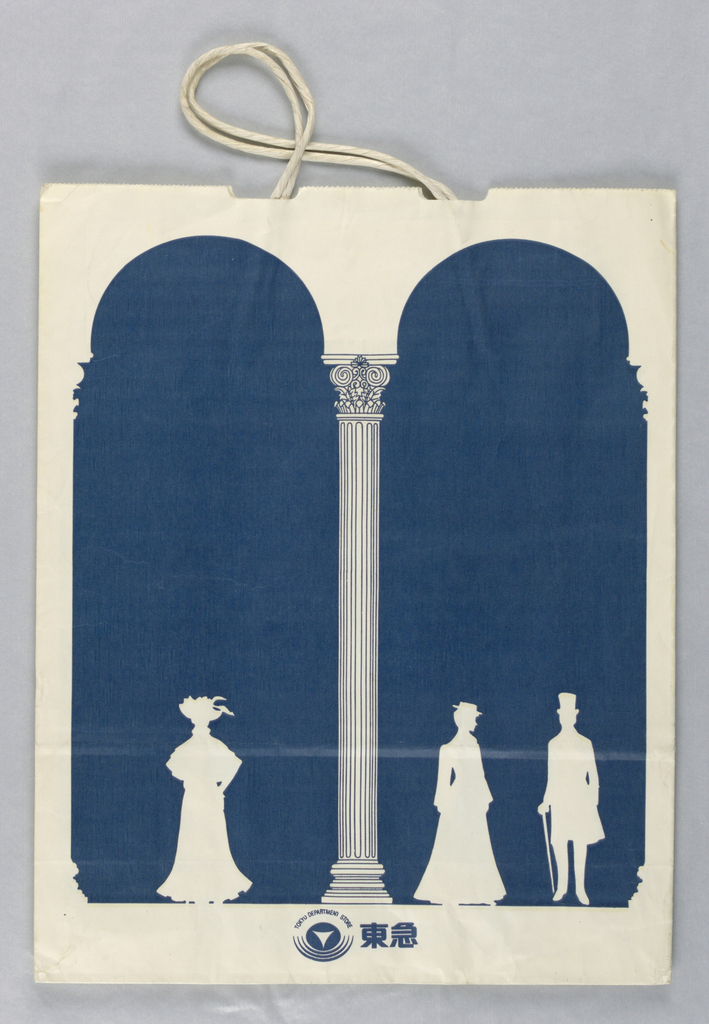 Text at bottom in blue on white; white figures in period dress on white background; blue arches and Ionic arcade. Japanese text on base.