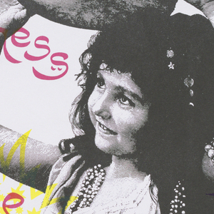Poster depicting a smiling girl holding a tambourine over her head. Around her is text in yellow, blue, and pink: the new u.93 / fm / berkeley cafe / and barefoot press press / present the first / local licks weekend / june / 2nd 3rd / 217 w. / martin / street; in a star: Recycled Paper with recycling logo.