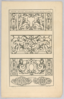 Print, Entrée de Serrures, Plate 98 from Divers dessins de balcons à plusieurs usages (Variety of Balcony Designs)