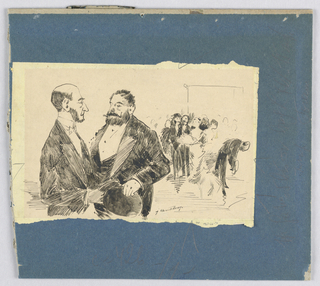 Drawing, Two men in evening attire