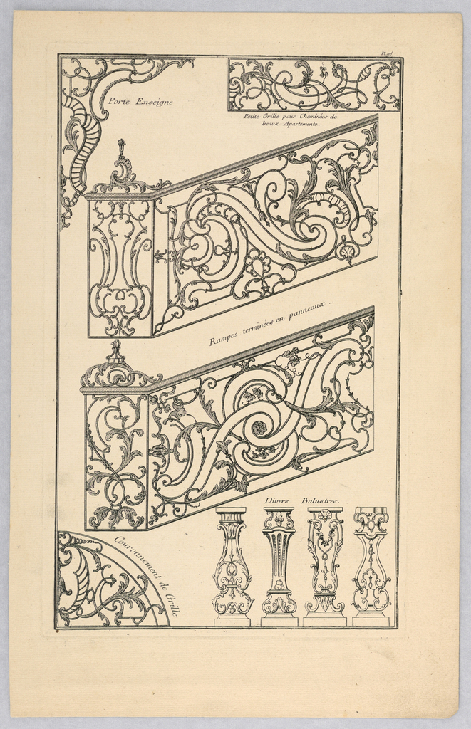 A variety of designs for ironwork including balustrades and bannisters.