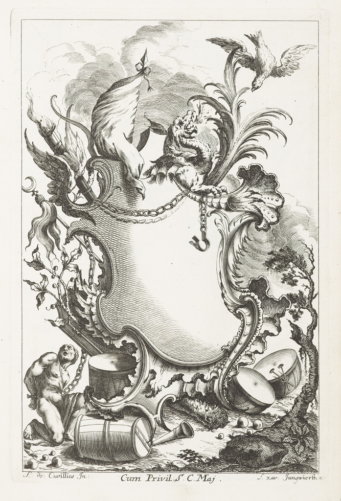 Blank cartouche framed by eagle, flag, dragon, fantastic plants, chains, chained figure, drums.