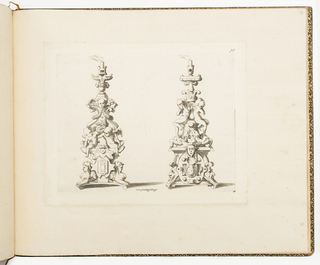 Fontainebleau school. Two designs for candlesticks. At left, decorated with sphinxes, putti and cherub heads. At right, decorated with grotesque masks, salamanders and masked putti.