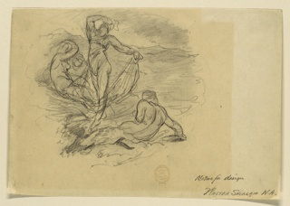One nymph is shown dancing, three are sitting upon waves.