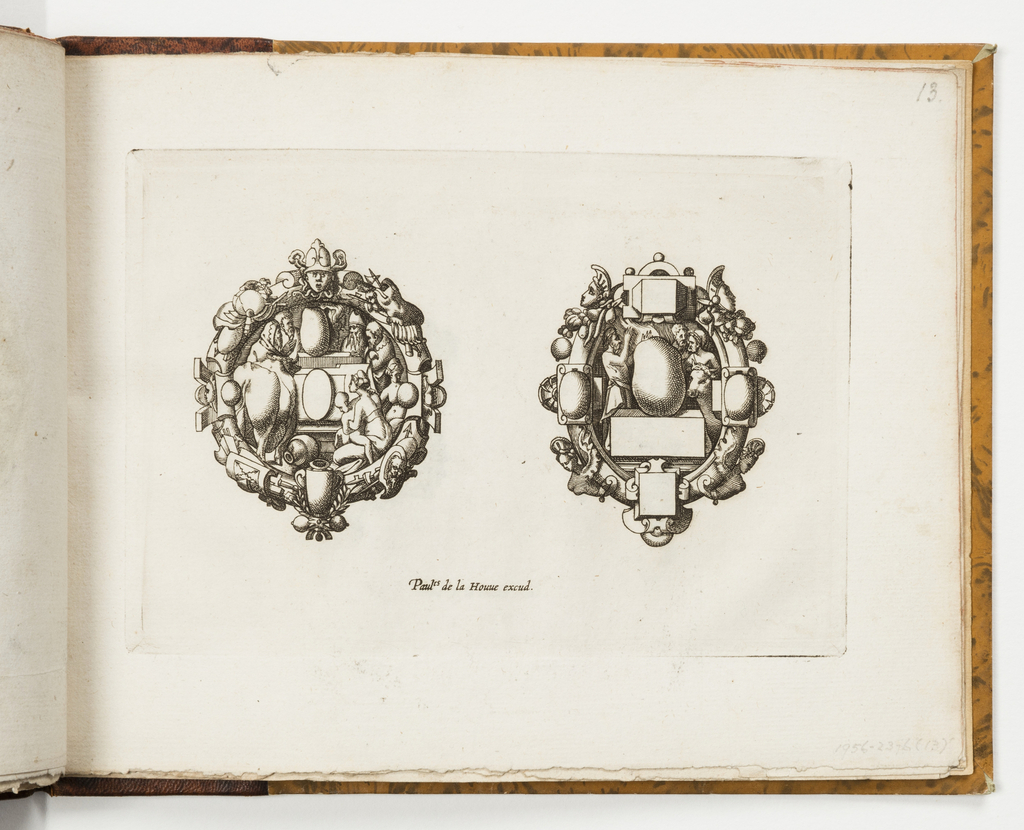 Design for two brooches. At left, strapwork and trophies encircle a figural scene. Above, a mask. At right, a strapwork oval with harpies, masks and fruit encircles a central scene showing figures and a cow.