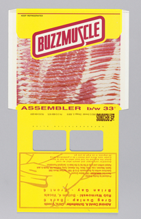 Record sleeve imitating a package of bacon with text in red, black, and brown on white and yellow: KEEP REFRIDGERATED / BUZZMUSCLE / ASSEMBLER b/w 33°; upside-down: JAKE / RECORDS 2953 S. Emerald Chicago, IL 60616 PH: 312-808-1675 FX: 312-404-2201.