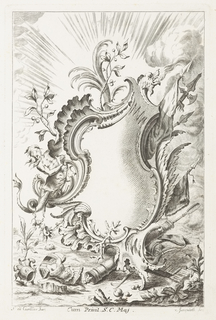 Blank cartouche, rays emanating from background; cartouche framed by dragon blowing fire, plants bearing fruit, axe and spear, merman-like figure;on ground, helmet, torso armor, and seashells.