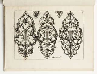 Horizontal rectangle showing three escutcheon designs, each with interlacing leaves and opposing fantastic figures.