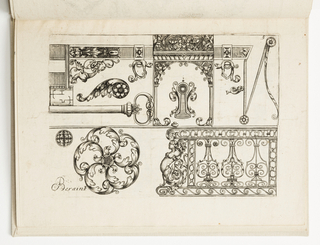 Horizontal rectangle showing a variety of ornaments. At top, an escutcheon within an architectural framework and screws surrounded by fantastic beasts. At left, the handle of a key. Below, a floral form with eagle heads.