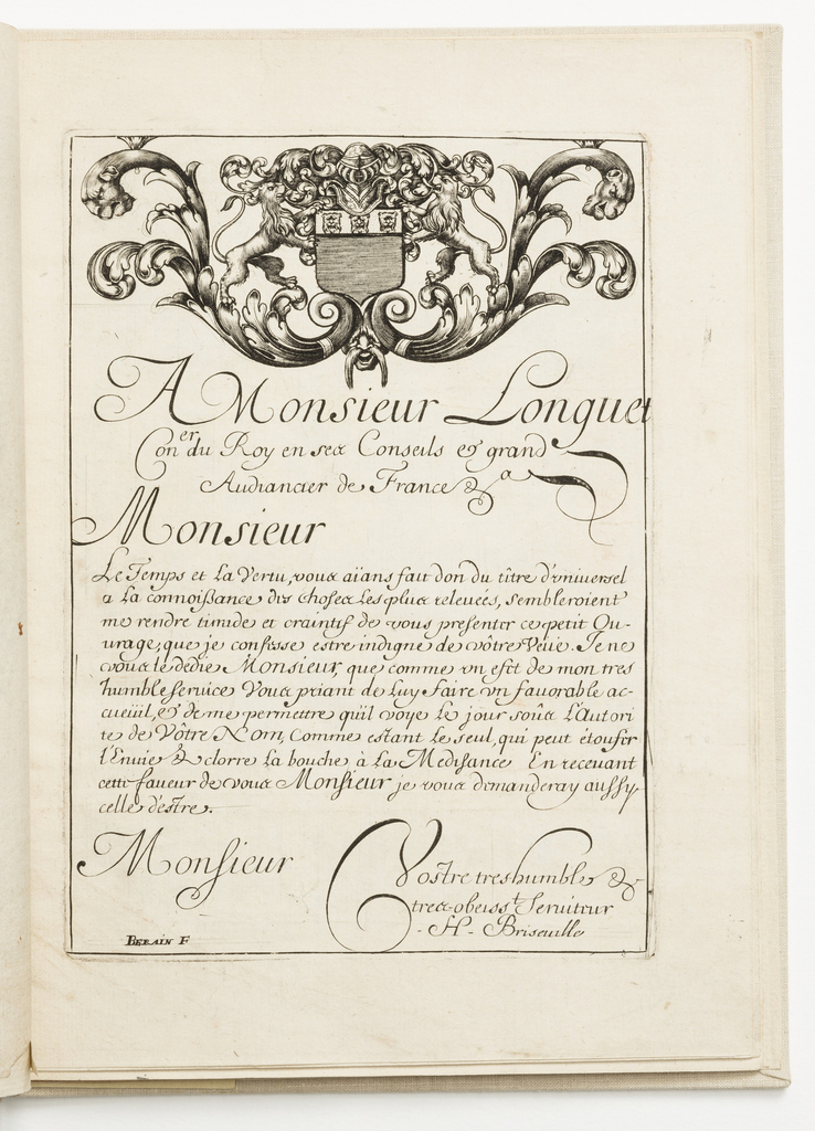 Print, Dedication page, from Diverses pièces de serruriers (Various Designs for Locksmiths)