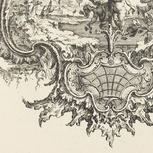 Design for an upright symmetrical cartouche in Rococo style, the frame topped by a shell form and surrounded by tree branches and vegetation. Within cartouche, a garden scene with putti figures surrounding a sculpture of a female bust; architectural ruin with columns partially visible in the background.