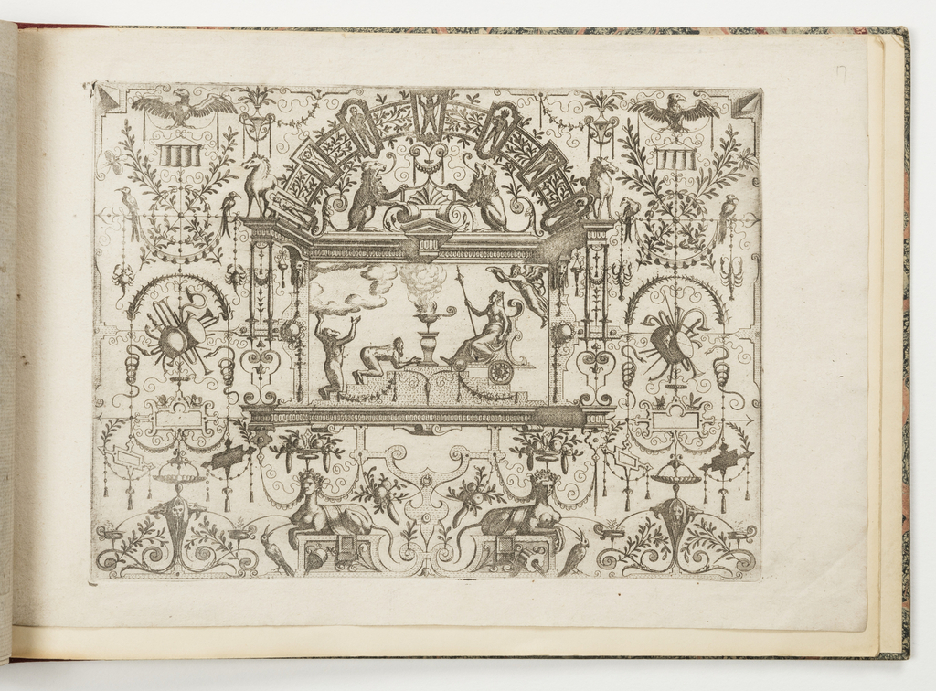 Grotesque panel. In center, two men kneel before a woman sitting in a chariot, over whose head a genius holds a crown; an incense burner stands on a pedestal between the two groups.