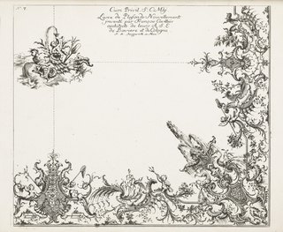 Upper left (presumed central ceiling motif) seated on an arrangement of coral and shell, a putti plowing water through a horn. A triton and paddle to the right side. A rustic god blowing wind, at left. Below at right angle an asymmetric design with putti, fish nets, tritons, a water fountain (in corner), flowers, leaves and cartouches, elements of a fantastic water design. Sections are connected with dotted lines, presumably as a guide for the stucco decor.