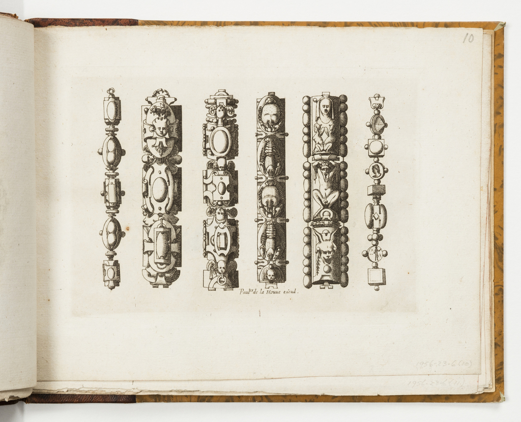 Design for six chains with strapwork and grotesques. Third chain from the right shows shellfish.
