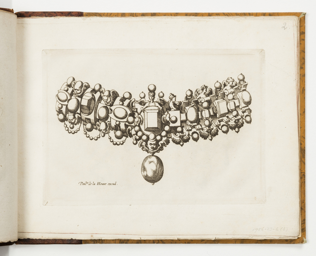 Design for a collar with alternative designs. At center, a faceted rectangular gem and a drop pearl. At top, winged figures; at bottom, swags of beads and festoons.