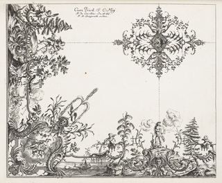 Upper right (presumed central ceiling motif) a large symmetrically-decorated medallion with leaves, delicate garlands and small cartouches. Below at right angle, a putti, pinetree, mythological figures on a rock, water below. A winged putti pouring a vase of water, a corner cartouche on the diagonal axis with a bird spewing water, water plants, a mask, a boat carrying barrels, and mythological man representing wind, standing on a rock, sections are connected by dotted lines, presumably as a guide to the stucco.