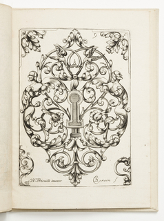 Vertical rectangle showing an escutcheon surrounded by scrollwork. Perched above is a bird with fruits and masks. In each corner, a design.