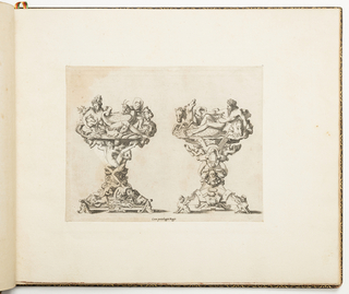 Fontainebleau school. Design for two salt cellars. The base of the left salt cellar is made of intertwined bodies, and a pair coupling under a watchful mask. On the top is Cybele, the many-breasted goddess of fertility, wearing a turret crown and surrounded by animals. The base of the right salt cellar shows sphinxes, pearls and a grotesque mask. Above is Neptune with his trident, in a reclining posture, accompanied by his horses.