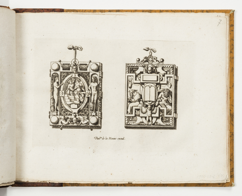 Design for two hinged pendants with strapwork. At left, Adam and eve flank a central oval. At right, two scholars flank a central oval with biblical tablets, held aloft by a child.