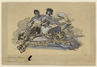 Two seated women. The right is crowned by a wreath and raises a pen with which she writes in a book. The masts of a sailing ship are shown in the right background.