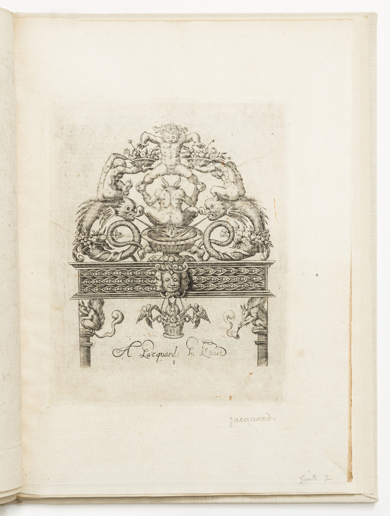 Print, Plate 1, from a series of ornament designs for locksmiths