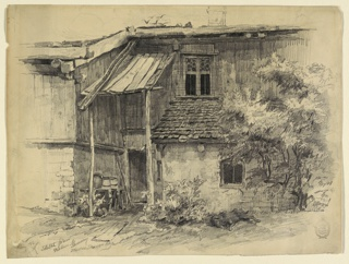 Tonal drawing of a two storied rustic building with two windows, wooden canopy over a small door and a small tresle table containing wooden barrels and an earthenware jug. A tree is sketched at right.
