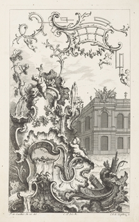 Large rocaille formation with building in the background on right. Formation contains water, putti, plants, bow and arrows, and grapevines, leading up to sky where a trellis-like ornament rests with hanging putti.