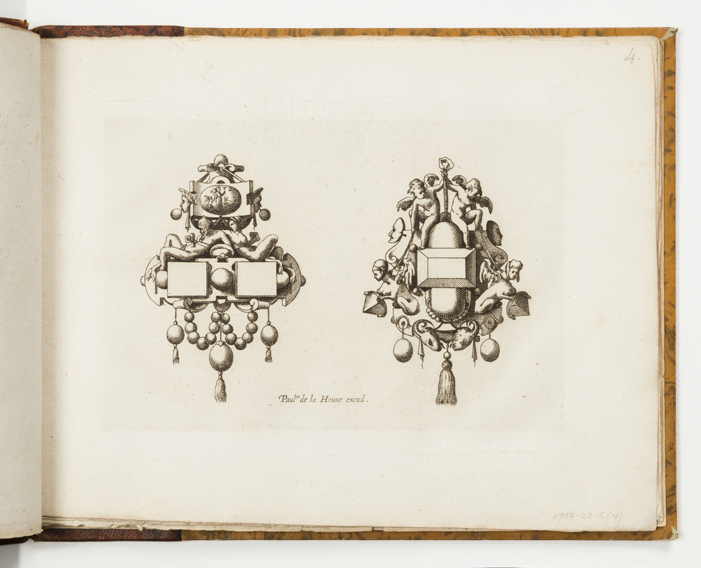 Design for two pendants. At left, a merman and mermaid recline on two squares. Above, strapwork with masks and a central oval tablet with mythological scene. Below, a garland of beads and three drop pearls. At right, a pair of putti and pair of sphinxes flank a central gem. Below, horned masks, two drop pearls and a central tassel.