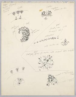 Sheet of sketches of design motifs.