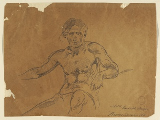 Three-quarter view of a seated male nude, the head being shown almost from the front.